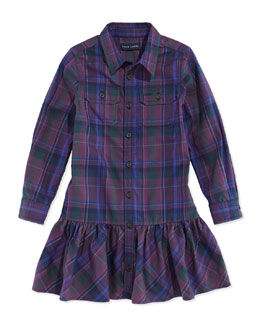 Ralph Lauren Plaid Twill Ruffled Shirtdress, Burgundy