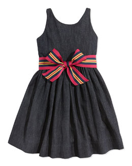 Ralph Lauren Bow-Belted Denim Fit-And-Flare Dress, Indigo Wash