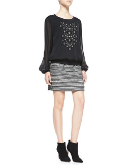 Milly Long-Sleeve Top W/ Hand-Beaded Front & Striped Back-Zip Bell Skirt