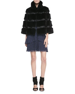 Diane von Furstenberg Loretta Cropped Banded Fur Jacket & Star-Patterned Halter A-Line Dress
