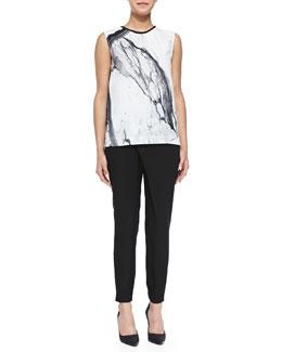 Helmut Lang Hydra Marble-Print Sleeveless Top & Flex Contrast-Waist Wrap Suit Pants