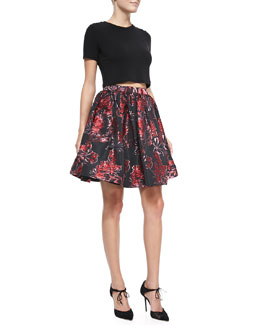 Alice + Olivia Short-Sleeve Crewneck Crop Top & Pia Pouf Full Skirt