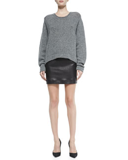 Helmut Lang Lofty Felt Pullover w/ Slouch Cuffs & Plonge Leather Pencil Skirt