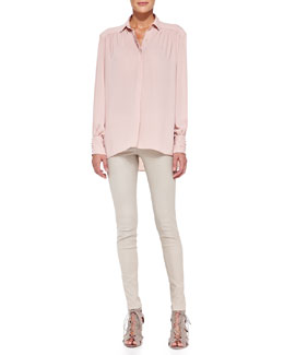 Alice + Olivia Janet High-Low Flared Tunic & Front-Zip Leather Leggings