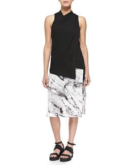 Helmut Lang Ascend Sleeveless Twist-Neck Top & Terrene Slit Marble-Print Skirt