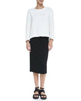 Helmut Lang Echo Jacquard Textile-Sleeve Sweatshirt & Lateral Drape Pencil Skirt