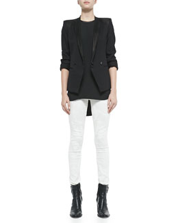 Helmut Lang Wool-Crepe Smoking Blazer, Sleeveless Jewel-Neck Tissue Silk Top & Tera Paint-Print Slim Leggings