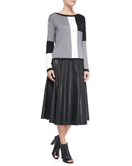 Alice + Olivia Colorblock Metallic Knit Sweater & Box-Pleated Leather Skirt