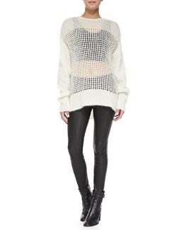 Helmut Lang Crewneck Gossamer Web Pullover, Slit-Shoulder Scoop Bra Top & Stretch-Leather Skinny Pants