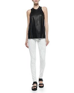 Helmut Lang Tilt Knit/Leather Sleeveless Top & Tera Paint-Print Slim Leggings