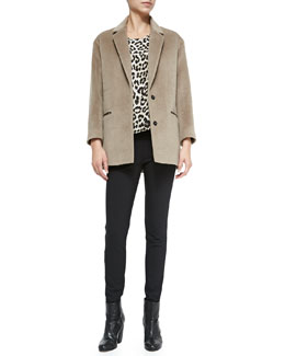 Rag & Bone Sigrid 2-Button Wool-Blend Coat, Fleet Sleeveless Leopard-Print Top & Chatel Skinny Side-Zip Pants