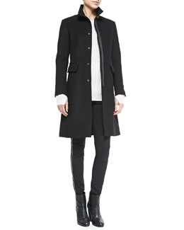 Rag & Bone Parker Long Coat w/ Leather Elbows, Cashmere Valentina Crewneck Tunic & Chatel Skinny Side-Zip Pants