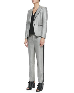Rag & Bone Alpine Wool-Blend Blazer with Zip Pockets, Fernanda Sleeveless Cutout-Back Top & Wool-Blend Trousers w/ Sport Stripe