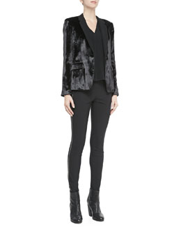Rag & Bone March One-Button Velvet Blazer, Fernanda Sleeveless Cutout-Back Top & Chatel Skinny Zip-Side Pants