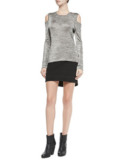 Rag & Bone Michelle Cold-Shoulder Space Dye Top & Sloane Ribbed Mini Skirt