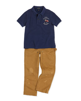 Ralph Lauren Childrenswear Novel Flag-Detailed Mesh Knit Polo & Workwear Bottoms Distressed Chino Pants