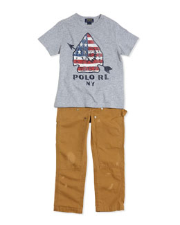 Ralph Lauren Childrenswear Graphic Arrow-Print Jersey Tee & Workwear Distressed Chino Pants