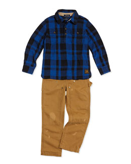 Ralph Lauren Childrenswear Plaid Polar-Fleece Hunting Shirt & Workwear Bottoms Distressed Chino Pants, Sizes 2T-3T
