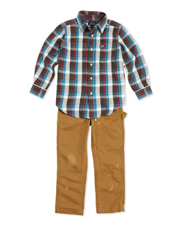 Ralph Lauren Childrenswear Plaid Twill Double-Pocket Shirt & Workwear Bottoms Distressed Chino Pants