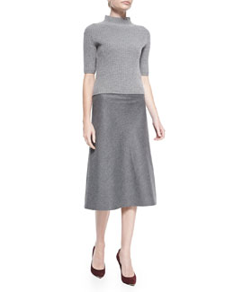 Theory Jodi Ribbed Knit Mock-Neck Sweater & Jahneem Lightweight Flannel A-Line Skirt