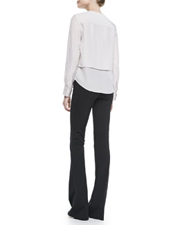 Theory Gentalla Layered Double-Georgette Top & Baxton Flare-Leg Jersey Pants