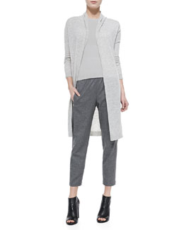 Theory Ashtry Lightweight Slub Open Cardigan, Phoeby Lightweight Ribbed Knit Top & Korene Flannel Cropped Pants