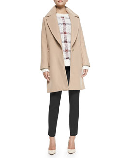 Theory Razan Long Felt Coat, Innis Knit Plaid Pullover Sweater & Belisa Slim Cropped Twill Pants