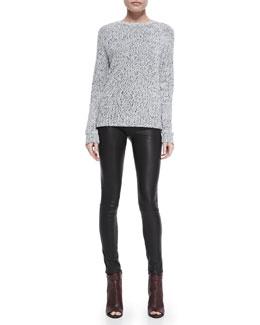 Theory Innis Knit Pullover Sweater & Pitella Flat-Front Lambskin Leggings