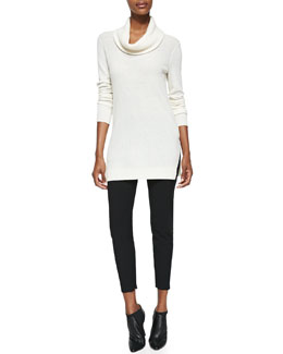 Theory Cashmere Madalinda Tunic Sweater & Venlynn Zipper-Cuff Twill Pants