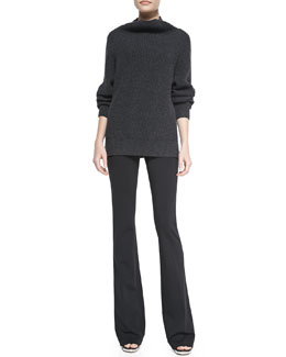 Theory Pate Ribbed Knit Pullover Sweater & Baxton Flare-Leg Jersey Pants