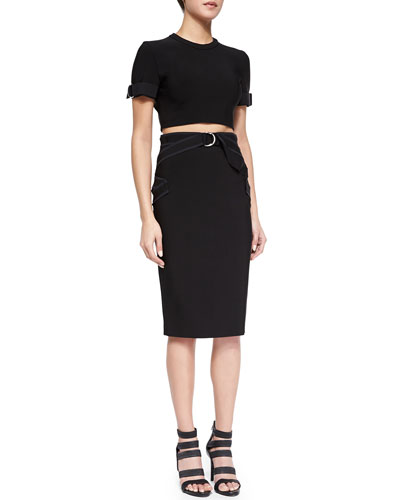 Tab-Cuffed Crop Top & Contrast Zigzag Pencil Skirt, Black