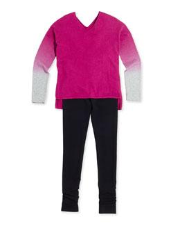 Dip-Dye V-Neck Sweater, Favorite Ribbed Tank Top & Scrunch Leggings