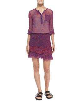 Doris Maze-Print Henley Blouse & Derek Maze-Print Smocked Ruffle-Tiered Skirt