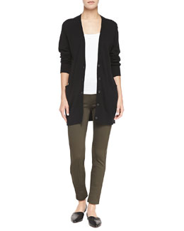 Vince Cashmere V-Neck Button-Front Cardigan & Seamed Cropped Ponte Leggings