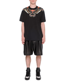 Moth-Print Cuban Tee & Pleated Leather Shorts