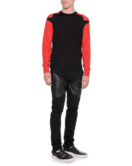 Contrast-Sleeve Crewneck Sweater & Moto Jeans with Leather Insets