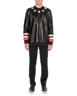 Leather-Front Star Sweatshirt & Zipper-Waist Trimmed Trousers