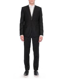 Collarless Zipper-Trim Jacket, Metal-Star-Collar Woven Shirt & Zipper-Waist Trimmed Trousers