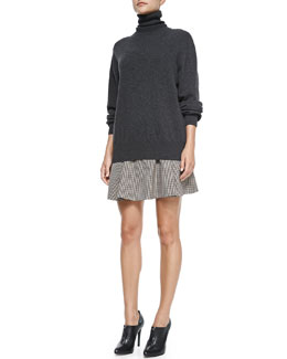 Theory Cashmere Pristelle Turtleneck Sweater & Merlock Plaid A-Line Short Skirt