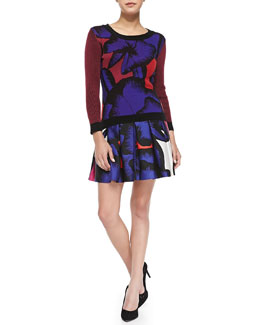 Diane von Furstenberg April Floral Sweater & Gemma Floral Box-Pleated Skirt