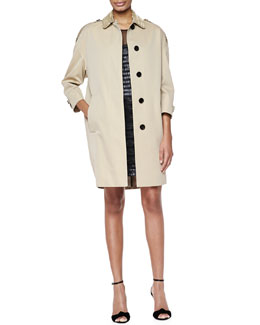Embellished-Collar Relaxed Trenchcoat & Embroidered Silk Shift Dress