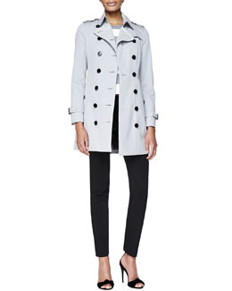 Burberry London Double-Breasted Fitted Trenchcoat, Stripe Round-Neck T-Shirt & Skinny-Leg Tuxedo-Stripe Trousers