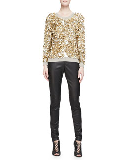 Cashmere-Blend Crushed Sequin Sweater & Side-Paneled Leather Leggings