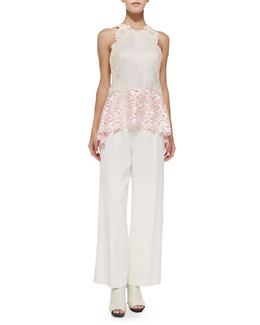 Tank with Floral Lace Straps & Wide-Leg Trousers