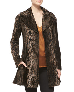 Nanette Lepore Mime Arched V-Neck Tank & High Voltage Leopard-Print Coat