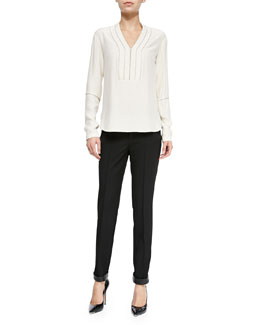 Nanette Lepore Grandstand Blouse W/ Rhinestone Detail & Trick Rider Skinny Leather-Trim Pants