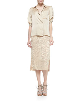 Rolled-Sleeve Sateen Shirt & Floral Jacquard Panel Skirt