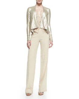 Long-Sleeve Cozy Leather Jacket, Sleeveless V-Neck Blouse w/ Cascading Ruffle & High-Waisted Crepe Trousers
