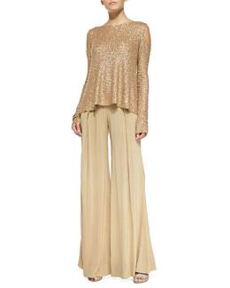 Sequined Cashmere Easy Cold-Shoulder Top & Easy Full-Leg Pants