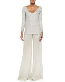 Cashmere Sequined V-Neck Top & Easy Pleated Full-Leg Pants